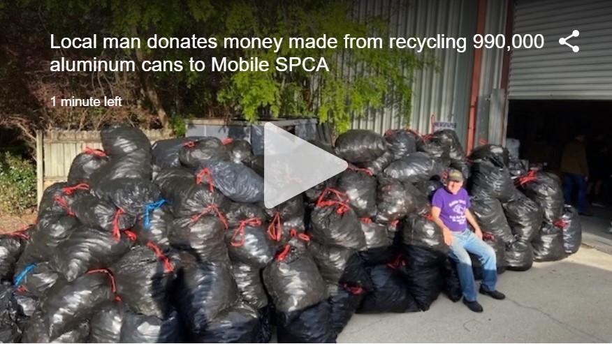 donates aluminum cans to SPCA.